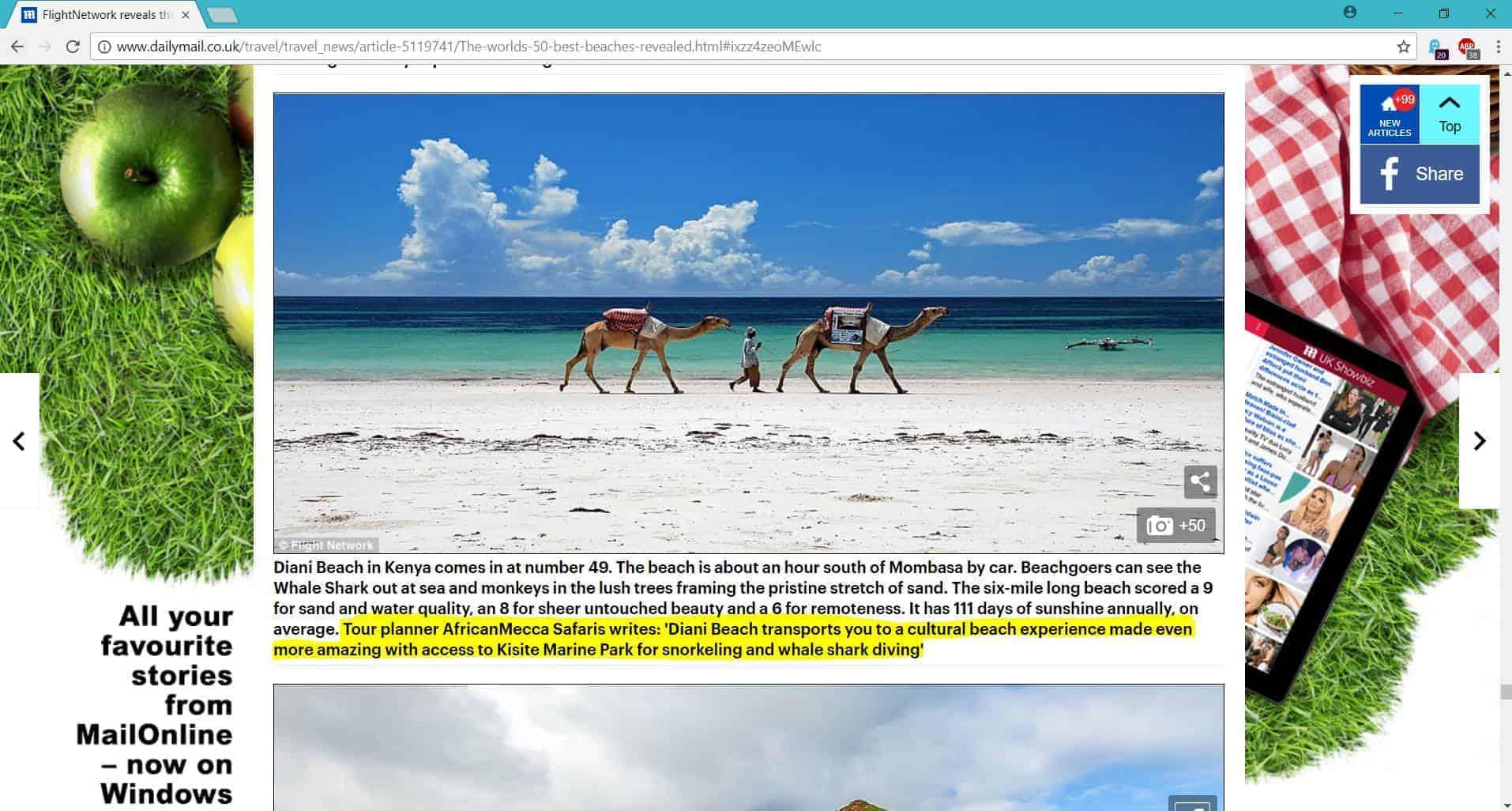 dailymail diani beach