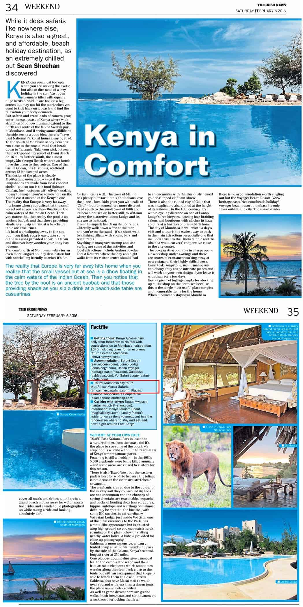 the irish news - kenya is great for beach and safaris
